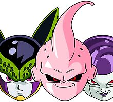 Cell, Kid Buu & Frieza (Chibi Faces) by DOPEFLVR