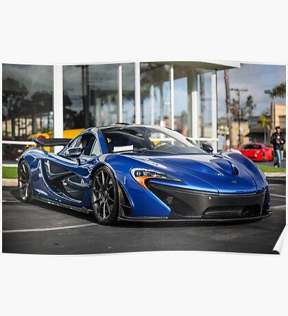 Azure Blue McLaren P1 Poster