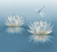 Blue Lotus and Dragonfly by FantasyDesign