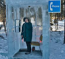 Ice Block Phone Booth by Randall Scholten