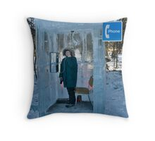 Ice Block Phone Booth Throw Pillow