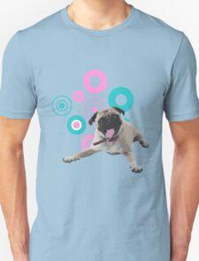 Retro Circles Pug Vector T-Shirt