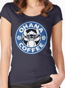Ohana Coffee - Blue Version Women's Fitted Scoop T-Shirt
