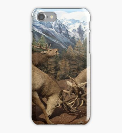 Natural environment diorama - Two deers fighting  iPhone Case/Skin