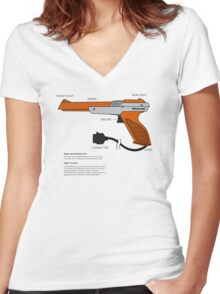 Nes Zapper Shoot them! Women's Fitted V-Neck T-Shirt