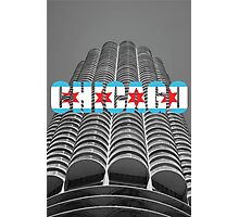 Marina Tower Chicago with Chicago Text and Flag Photographic Print