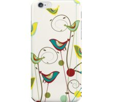 Colorful Whimsical Summer Birds & Swirls iPhone Case/Skin