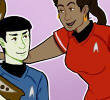 spock and uhura jamming Sticker