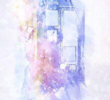 Watercolour TARDIS by Mark White