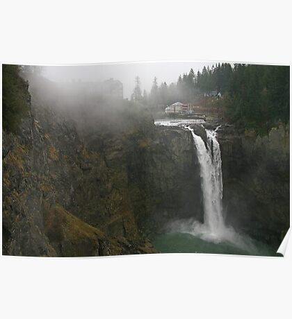 Snoqualmie Falls and Fog Poster