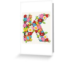 Spring Flowers Alphabet K Monogram T-shirt Greeting Card