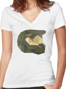 Low Poly - Master Chief Women's Fitted V-Neck T-Shirt