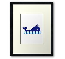 Blue comic whale Framed Print