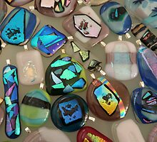 dichroic glass pendants by honeyjewel