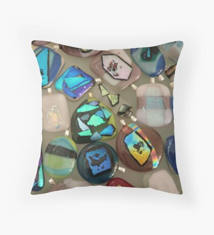 dichroic glass pendants Throw Pillow