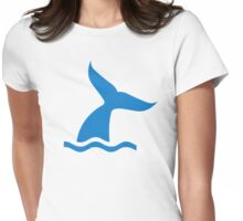 Blue whale fin Womens Fitted T-Shirt