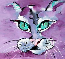 Mr. Purple Mika Cat - Animal Art by Valentina Miletic by Valentina Miletic