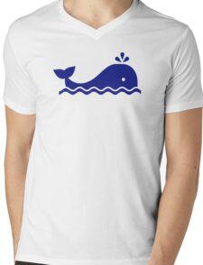 Blue whale Mens V-Neck T-Shirt