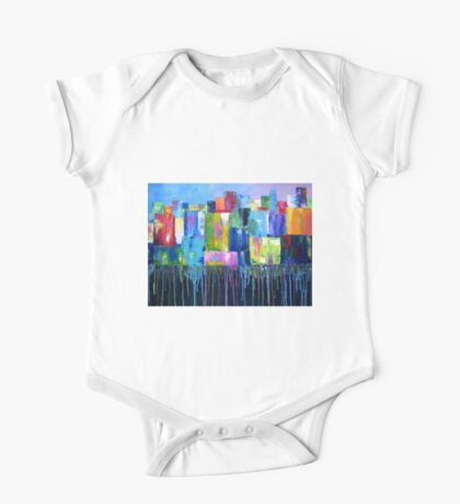Colorful Abstract Cityscape One Piece - Short Sleeve