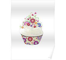 pretty floral cupcake Poster