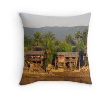 Village at dawn.  Irrawaddy River, Burma. Throw Pillow