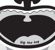 Black and White Big Mouth Biff Sticker