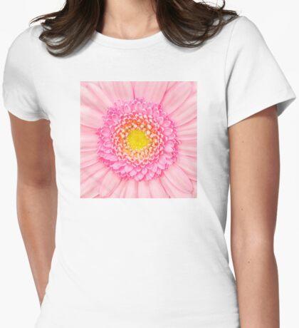 Pink Gerbera Flower Macro Womens Fitted T-Shirt