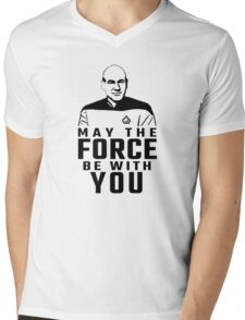"Jean Luc Picard - ""May The Force Be With You"" Mens V-Neck T-Shirt"