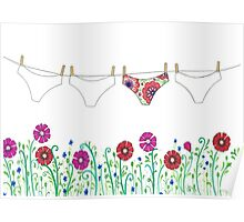laundry line flowers Poster