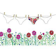 laundry line flowers Photographic Print