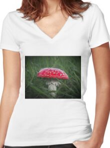 Red and White Toadstool Women's Fitted V-Neck T-Shirt