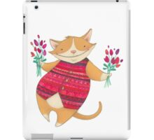 Cute Cat with Flowers Illustration iPad Case/Skin