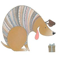 Dog in Sweater with Gift by laneykate