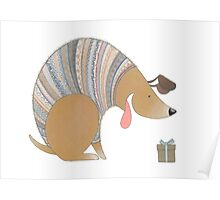 Dog in Sweater with Gift Poster