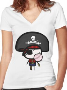 Yarrg, Pirates Can Blow Bubbles Too! Women's Fitted V-Neck T-Shirt