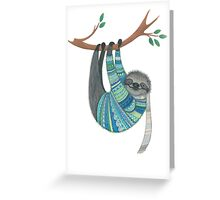Smiley sloth wearing sweater Greeting Card