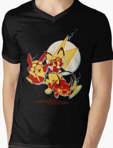 Rai Flash, Pika Flash and Impichu Mens V-Neck T-Shirt