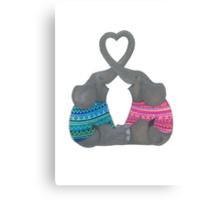 Elephant Love Heart Trunks Canvas Print