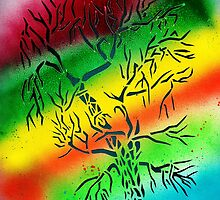 Rainbow Tree Stencil by Demea