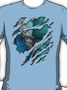 Quick man Silver lightning chest in blue ripped torn tee T-Shirt