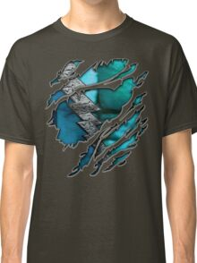 Quick man Silver lightning chest in blue ripped torn tee Classic T-Shirt