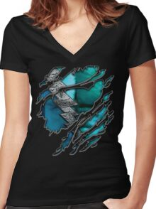 Quick man Silver lightning chest in blue ripped torn tee Women's Fitted V-Neck T-Shirt