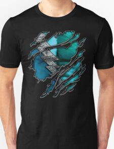 Quick man Silver lightning chest in blue ripped torn tee Unisex T-Shirt
