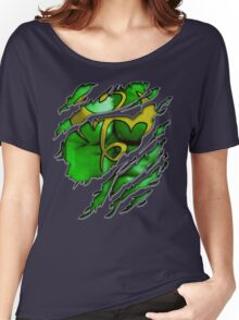 Yellow dragon Kungfu fighter chest ripped torn tee tshirt Women's Relaxed Fit T-Shirt