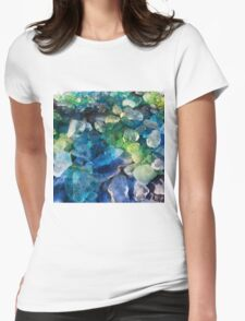 Green and blue ice dye gems Womens Fitted T-Shirt