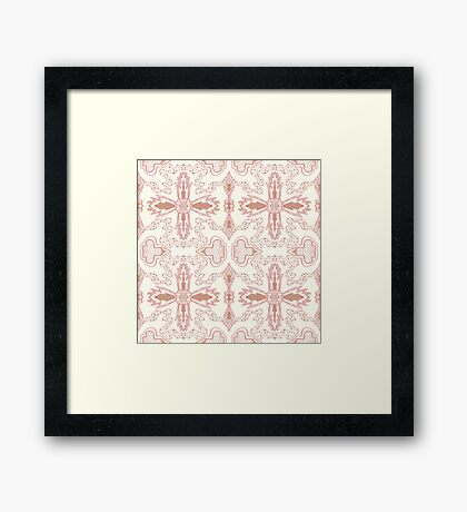 pink gold organic flower Framed Print