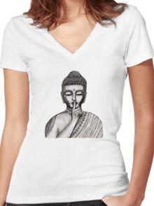 Shh ... do not disturb - Buddha - New Women's Fitted V-Neck T-Shirt