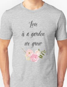 Romantic Pink Garden Watercolor Floral Unisex T-Shirt