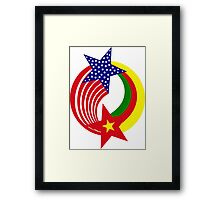 Cameroon American Multinational Patriot Flag Series Framed Print