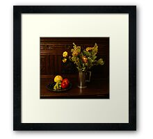Withered Flowers & Fresh Fruit Framed Print